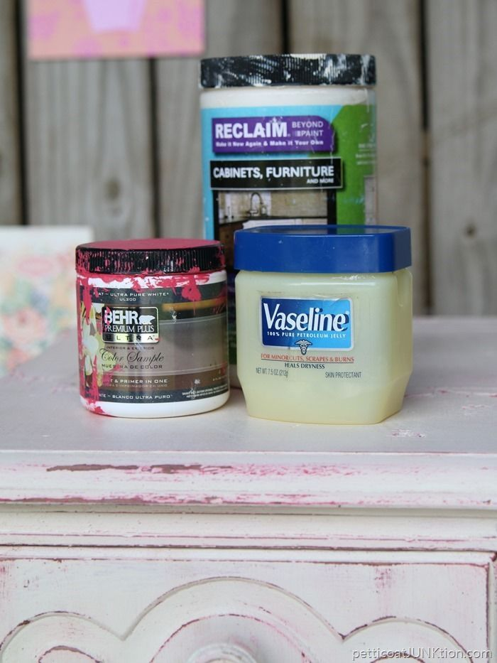 Distress paint with Vaseline. How to layer paint using Vaseline on Furniture. Simple technique using Vaseline between two layers of paint on furniture. Before and after photos of the furniture makeover.