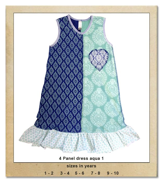 Sillybilly© clothing:  4 panel dress aqua 1