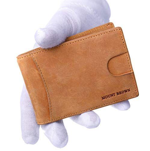 ec09bbd27f51 MOUNT BROWN Bifold RFID Blocking Slim Minimalist Genuine Leather ...