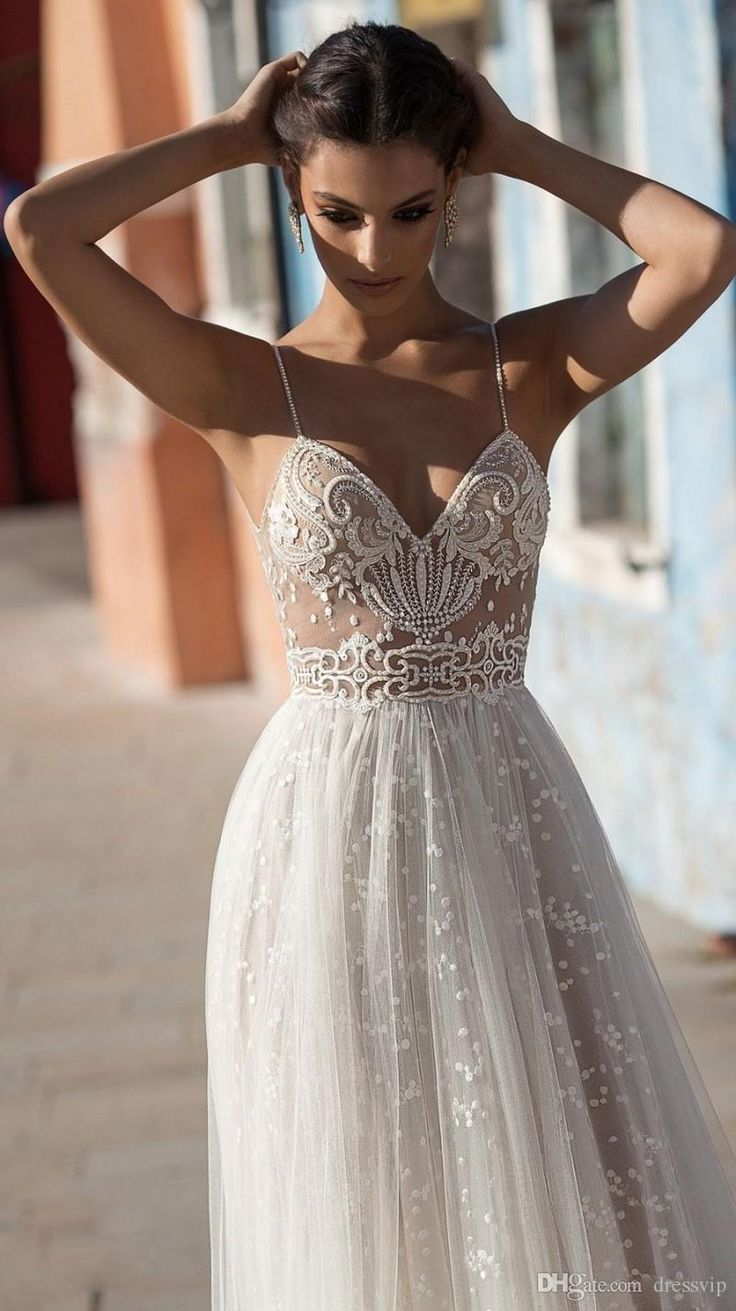 2018 Gali Karten Beach Wedding Dresses Side Split Spaghetti Illusion Sexy Boho Wedding Gowns Sweep Train Pearls Backless Bohemian Bride