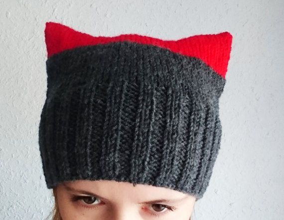 Grey and red pussycat hat Knitted pussy power by MKedraHandmade