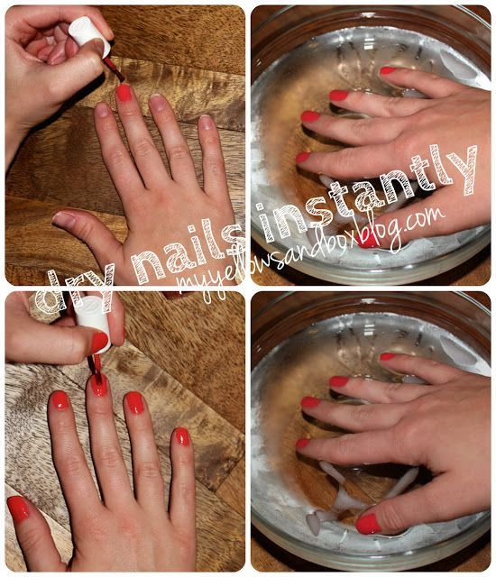 ---'Dry Nails Instantly ... You'll need a bowl of ice water. First, apply one coat of the polish you want to use. When the nails aren't super wet, but still annoyingly damp, soak nails in the bowl of ice water for one minute. Do this for as many coats as necessary.'--- Not sure if this works, but I'll try it soon and edit this pin with the results
