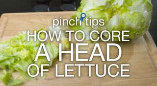 The Just A Pinch Test Kitchen shows how to easily core a head of lettuce.