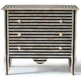 Bone / Horn Inlay 3-Drawer Chest - Striped - Black / Ivory only at Complete Pad ®   - 1