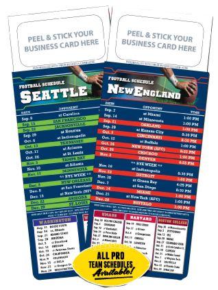 "2017 Magnetic Business Card Pro Football Schedule (Bulk) Calendar | 3.5"" x 9"" Magnet Professional Team Schedules"