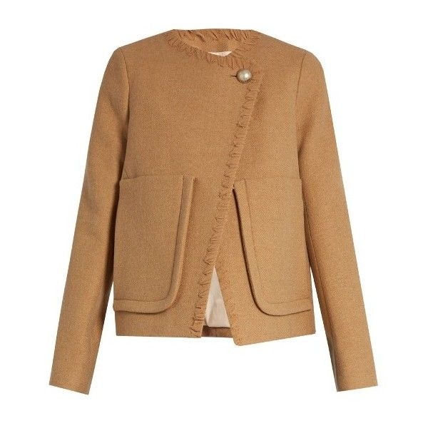 See By Chloé Patch-pocket wool-blend coat found on Polyvore featuring outerwear, coats, jackets, coats & jackets, overwear, camel, see by chloe coat, oversized camel coat, camel coat and wool blend coat