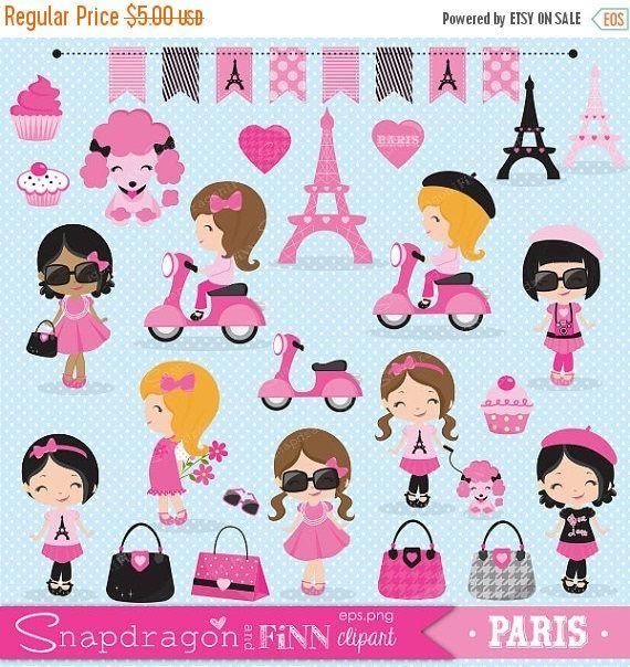 SALE Paris Girl clipart Paris clipart Shopping clipart Cute