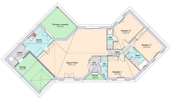 La maison diamant 114 17 m constructeur maisons mca Plan constructeur maison