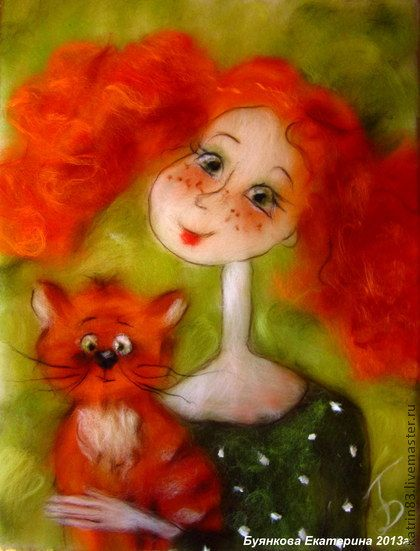 "Картина из шерсти "" Рыжее счастье"" - картины из шерсти,рыжий кот,девочка"