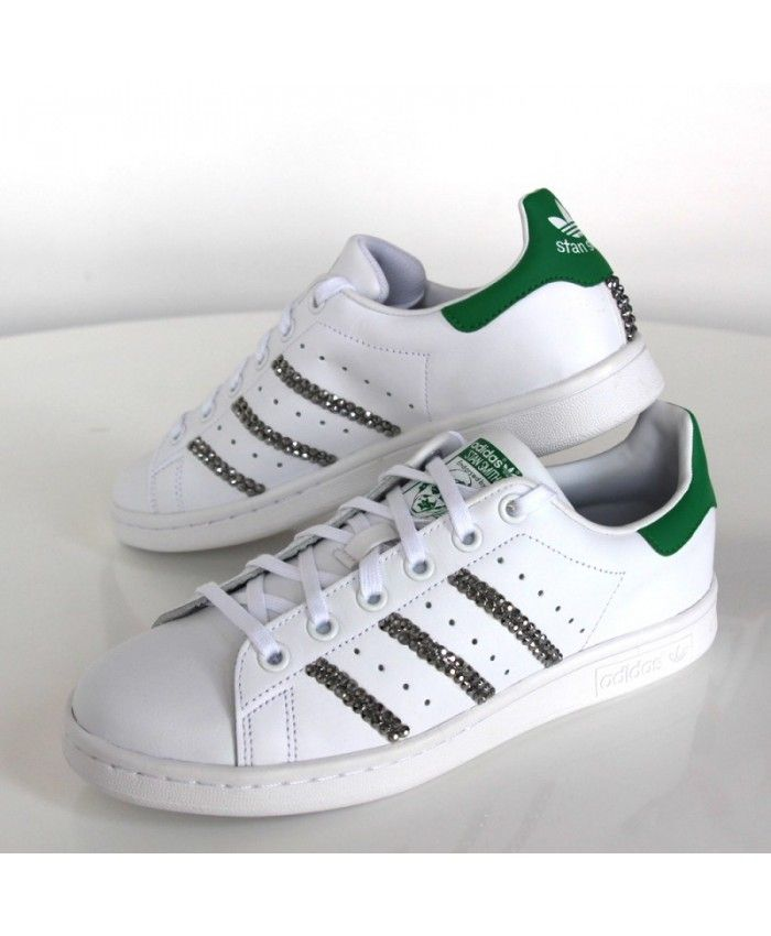 Adidas Stan Smith Womens Trainers In White Green with Crystal Swarovski d418816abdb9