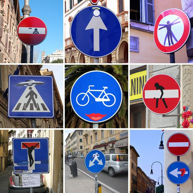 Road sign mods: French artist Clet Abraham via PUBLIC bikes