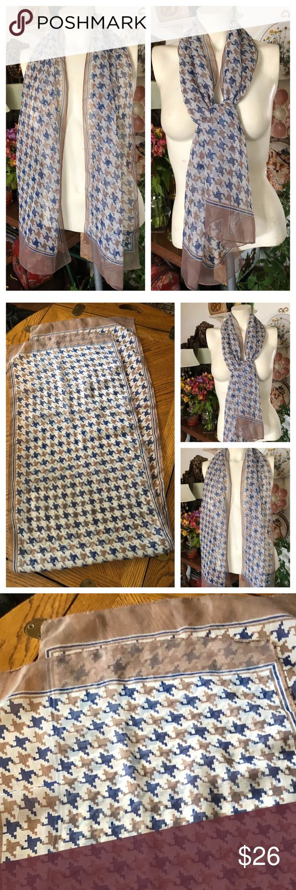 """Vintage Silk Chiffon Houndstooth Print Scarf This totally awesome vintage long scarf is in a taupe and blue houndstooth print with a creamy white background. Maker/fabric tag cut off so not to show through the sheerness ~ believe fabric to be silk chiffon. Measures 15"""" x 61"""".  In excellent preowned vintage condition. Smoke-free home. Vintage Accessories Scarves & Wraps"""