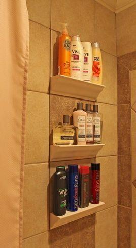 Bathroom Tile Storage - so much simpler than nooks between studs!