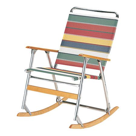 Featuring a folding design, this portable rocking chair showcases an aluminum frame and brightly striped seat and back.    Product...