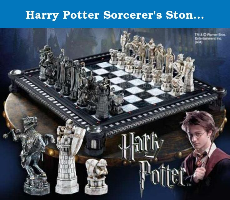 Harry Potter Sorcerer's Stone Final Challenge Chess Set by Harry Potter. Let the wizarding games begin!;Incredibly detailed chess set from Harry Potter and the Sorcerer's Stone.;Includes 32 chess pieces and a beautiful playing board.;Do you have what it takes, like Harry, Ron, and Hermione?;Harry Potter to queen's rook four! A remarkable recreation of the Final Challenge Chess Set seen in the film Harry Potter and the Sorcerer's Stone, the 32 chess pieces are crafted to exact detail of...