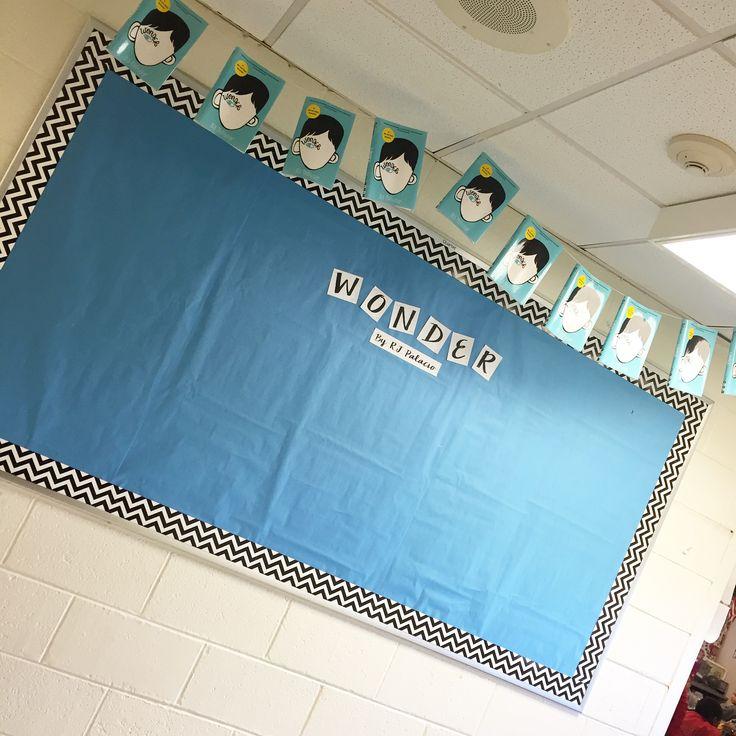 Wonder bulletin board with a book sleeve banner! RJ Palacio