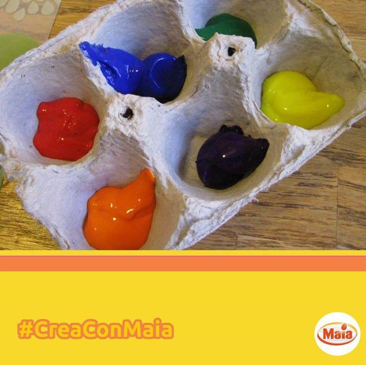 #CreaConMaia Un'idea creativa per chi si diletta nella pittura. Usa i contenitori delle uova come tavolozza per dipingere! Tanto colore per la tua fantasia!