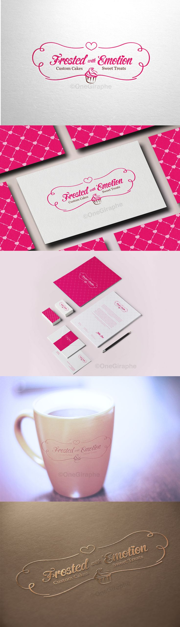 Branding for Cake, Cupcake & Bakery for sale! - Logo ( color variations and black / white ) + business card design ( 2 sides ) as bonus. Format files: eps, pdf, png, jpg or any other at request. Order now at: onegiraphe@gmail.com #cupcake #cake #logo #bakery #stand #pink #logo #design #sale #logostore #stocklogos #logopond #behance #brand #identity #brandidentity #graphic #graphicdesign #designer #gold #classic