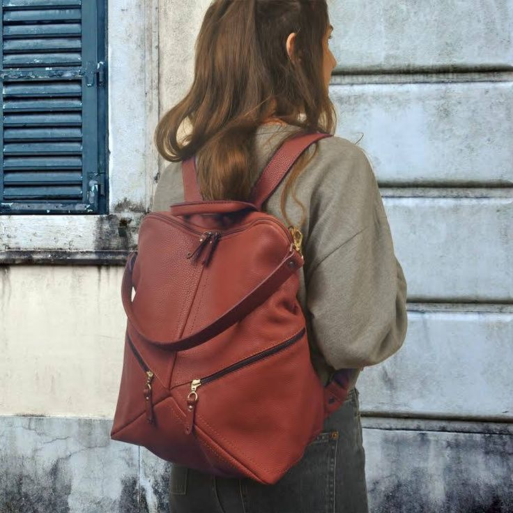 Handmade leather backpack,shoulder bag in copper color ,named IRIA ,made to order by iyiamihandbags on Etsy