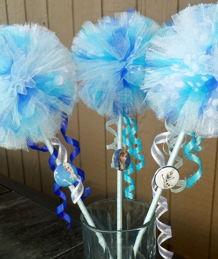 8 Frozen wands with Frozen character embellishment by tutusweetsnaps on Etsy https://www.etsy.com/listing/194548910/8-frozen-wands-with-frozen-character