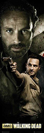 Walking Dead, The - Rick - Tür Filmposter Kino Movie Gruselfilme - Grösse 53x158 cm + 2 St. Posterleisten Kunststoff 62 cm transparent