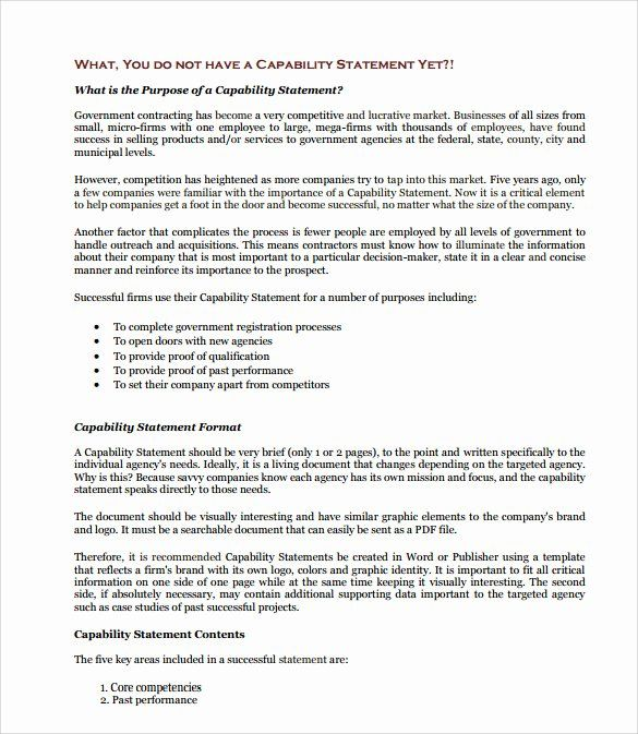 Capability Statement Template Free Lovely 15 Pdf Word Page Mission Personal Capacity