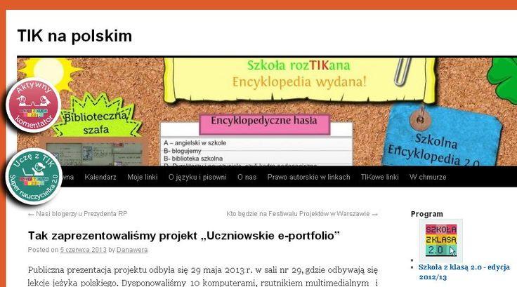 """Pani Danuta Chwastek ze Szkoły Podstawowej w Inowrocławiu podzieliła się z nami swoimi refleksjami po prezentacji projektu, który zrealizowała wspólnie z uczniami - """"Uczniowskie e-portfolio"""". http://szkolazklasa2012.ceo.nq.pl/dokument_widok?id=9590"""