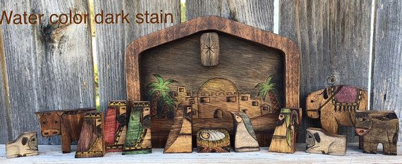 Christmas Nativity Puzzle With Wood Burned Design