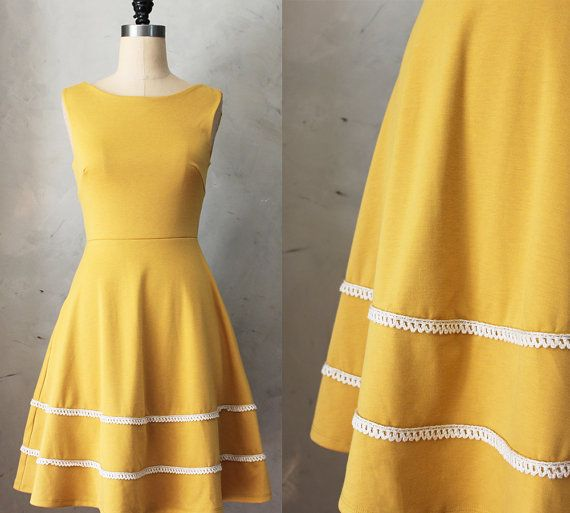 COQUETTE in MUSTARD - Muted yellow dress with pockets // flared circle skirt // ivory crochet // bridesmaid dress // vintage inspired