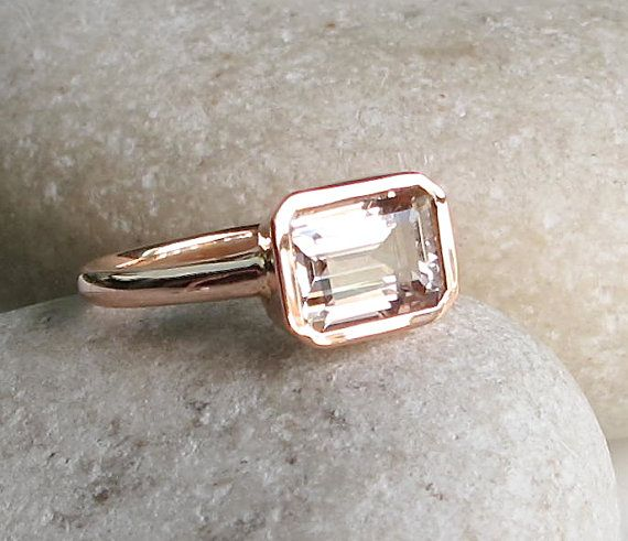 Change this one from a WANT to a GOT!! So pretty - LOVE MORGANITE.    Rectangle Morganite Ring- Rose Gold Ring- Morganite Ring- Bridal Ring- Promise Ring- Engagement Ring- Anniversary Ring- Weddi