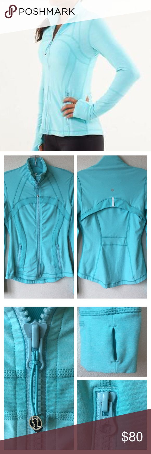 "Lululemon 'Define' Jacket Turquoise Size 4 Zip-Up Lululemon. 'Define' Jacket. Size 4. Retail: $118. Turquoise color (1st pic best shows color). ""We designed this fitted jacket with sweat-wicking fabric and built-in ventilation to take you to and from the studio. Added thumbholes and fold-over Cuffins™ finger covers help to keep the cold out."" Slim fit. Hip length. Upper back ventilation. Two pockets. Made out of sweat-wicking, four way stretch Luon, cottony soft. Added Lycra fabric for great…"