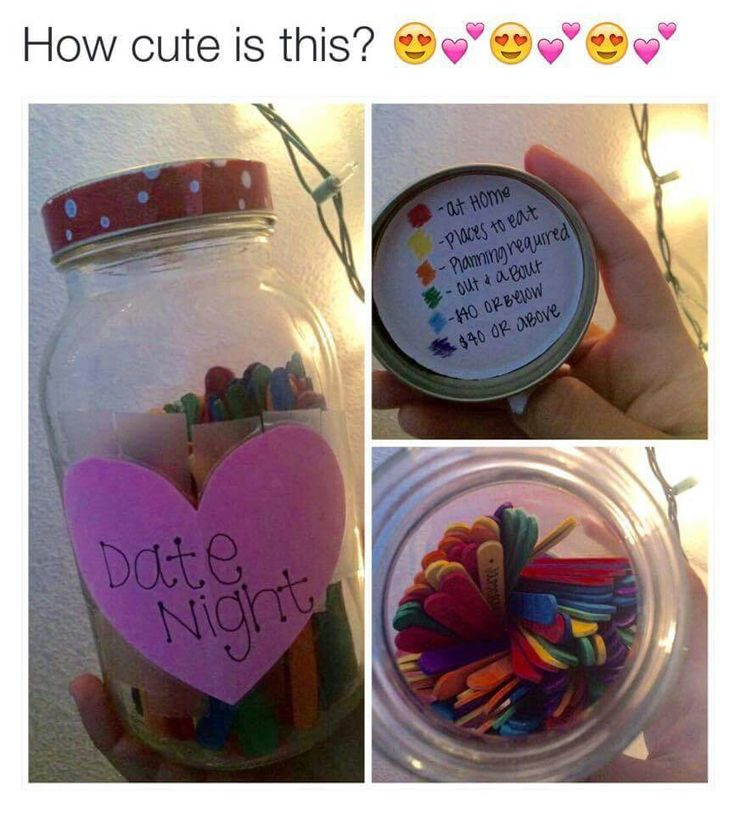"I found this on Facebook. I think it's a great idea! A jar of colored popsicle sticks, each representing something different to go/do on ""date night."" I will definitely do this one day! :)"