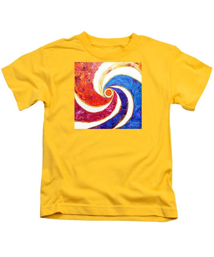 Compelling Cheerful Bright Colorful Dramatic Vibrant Contemporary Stylized Graphic Sun Sign Sol Central Circle Orb Spiral Pinwheel Blue Purple Yellow Orange Pink Red White Kids T-Shirt featuring the painting #2004 Sun Spiral by Expressionistart studio Priscilla Batzell