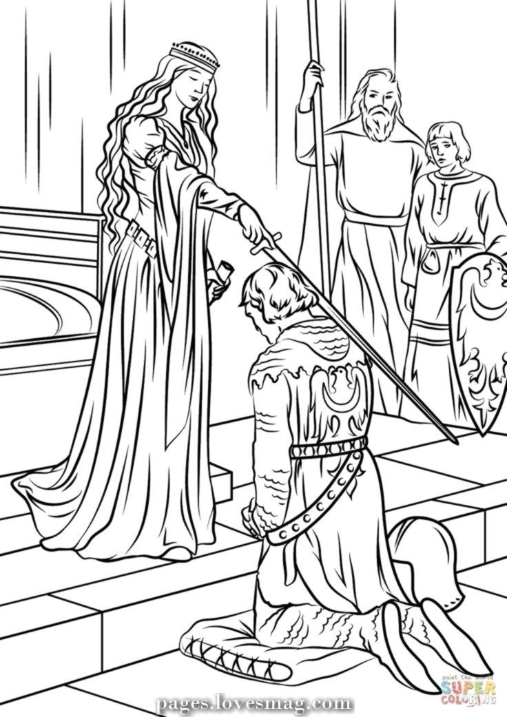 Unique And Creative Knight And Princess Coloring Web Page From The 1000 S Of On Line Picture Princess Coloring Pages Princess Coloring Medieval Princess