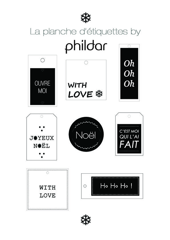 La planche d'étiquettes cadeaux de noël by Phildar