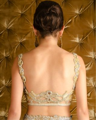 Delicate gold and silver blouse with Swarovski patterns - Pam Mehta