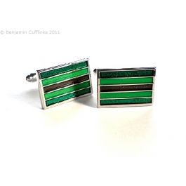 Emerald Green and Brown Stripes Cufflinks - Five stripes with two shades of green with a central brown stripe.