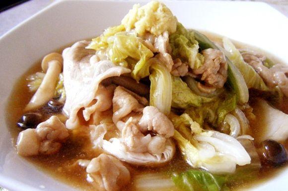 白菜と豚肉のあんかけのレシピです。