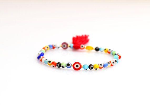 Evil Eye Bracelet // Stretch Bracelet // Turkish by HippieThings