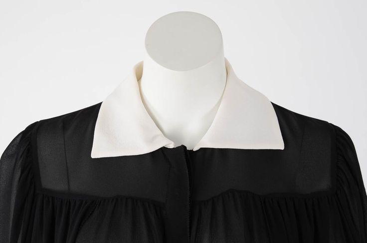 Yves Saint Laurent Black & Cream Silk Blouse