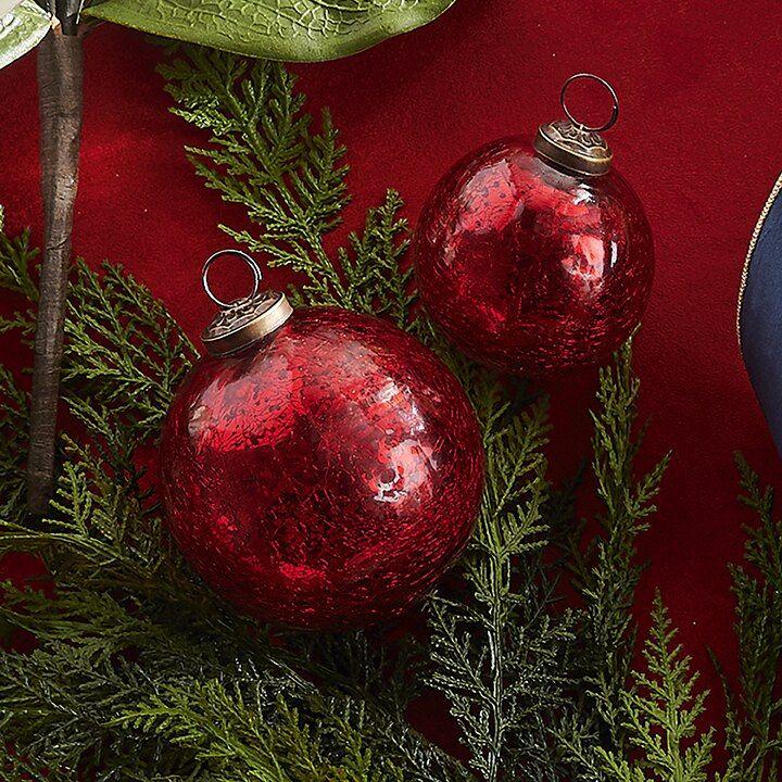 Raz 4 Red Crackle Glass Ball Christmas Ornament 3900746 Classic Christmas Tree Christmas Ornaments Christmas Tree Themes