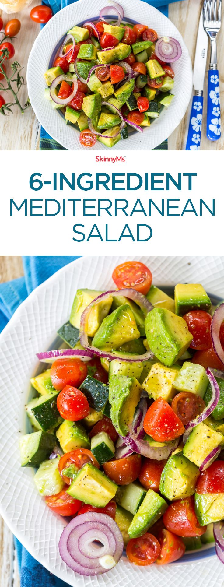 6-Ingredient Mediterranean Salad: I love making this salad on Sundays. It's so good! #salad #cleaneating #mediterrranean #skinnyms