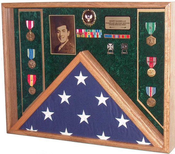 Military Veteran Burial Flag & Medals Shadow Box Display Case - for Military Funeral Flag