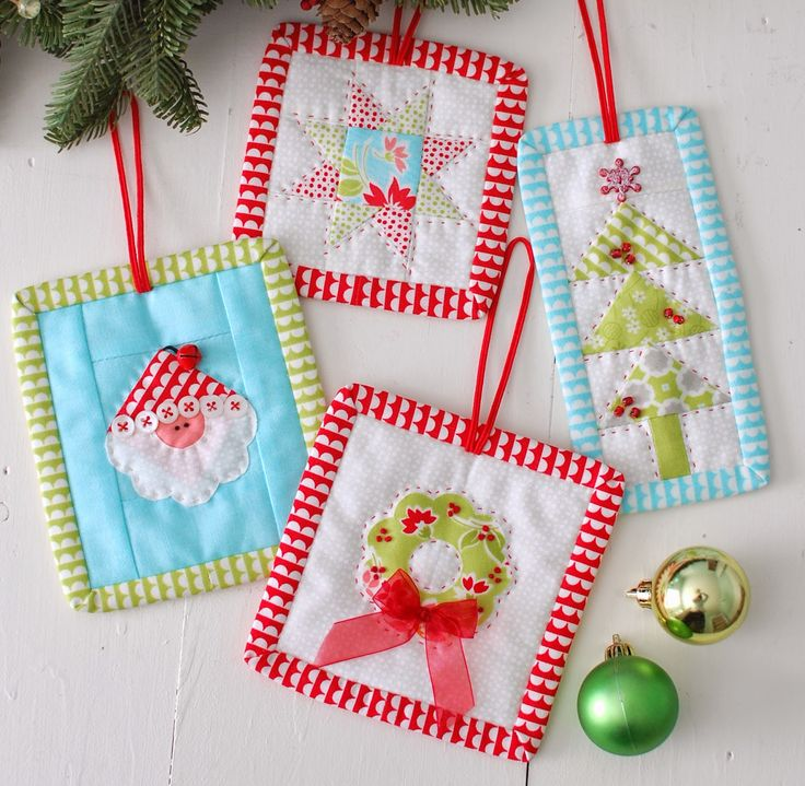 Cotton Way-Christmas ornaments pattern using mini charm packs.