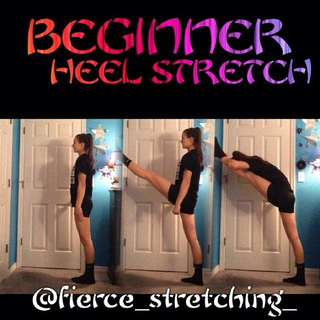 Hi guys! Here's a great heel stretch, stretch! Find a wall and stand about 2 ft from it. Make sure you are facing it:) lift up your heel stretch leg straight in front of you and slide it up the wall till the top of your foot is even with your nose/mouth! Lean down towards your leg , grab it and pull yourself down! Hope this helps you guys:) DONT FORGET ABOUT OF FLEXIBILITY CONTEST!!:)) ∞Meg