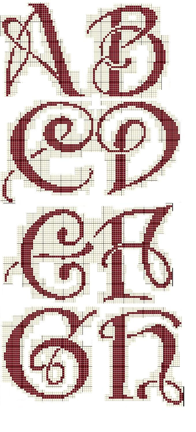 Cross Stitch Alphabet A-H
