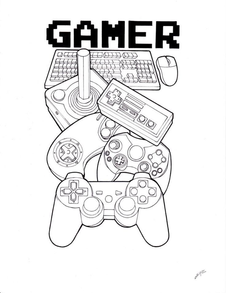 Gamer Tattoo outline by SpiderLAW on DeviantArt