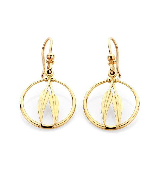 Gumleaf Frame Earrings 9ct yellow gold $315