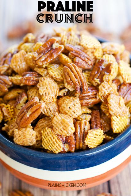 Praline Crunch - highly addictive!! SOOOO good! Sweet and Salty in every bite! Crispix cereal, pecans, brown sugar, corn syrup, butter, vanilla, baking soda. Can make ahead of time and store in an air-tight container. Great for a party or homemade gift!