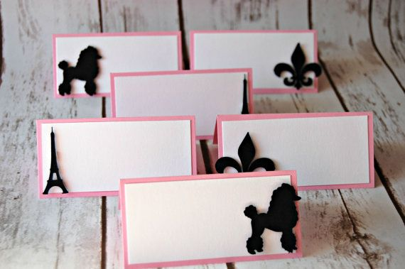 READY TO SHIP Paris Themed Party Name Tags, France Party Buffet Tags, Girly Party Food Names (set of 6)